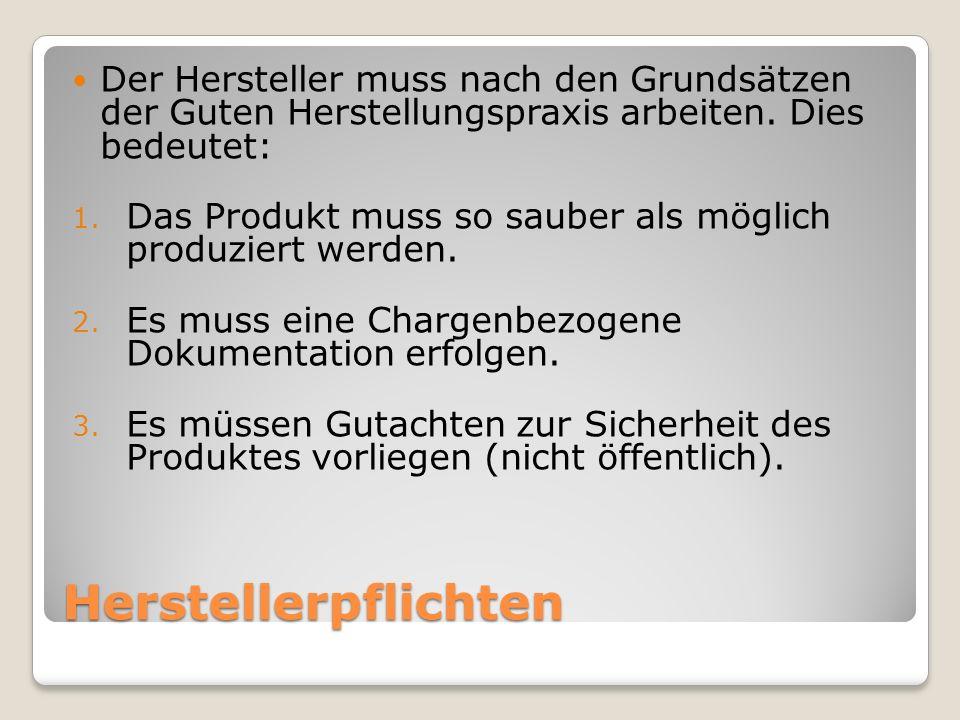 Herstellerpflichten Der Hersteller muss nach den Grundsätzen der Guten Herstellungspraxis arbeiten. Dies bedeutet: 1. Das Produkt muss so sauber als m