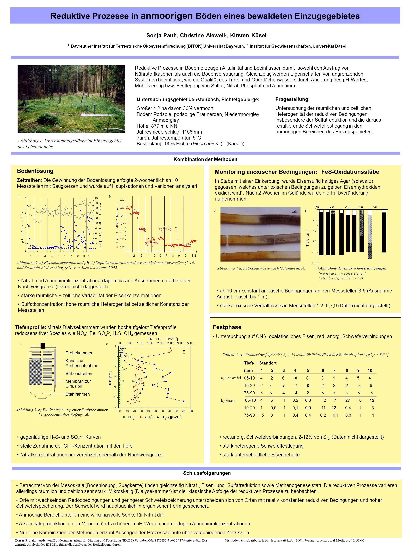 Reduktive Prozesse in anmoorigen Böden eines bewaldeten Einzugsgebietes Reduktive Prozesse in Böden erzeugen Alkalinität und beeinflussen damit sowohl