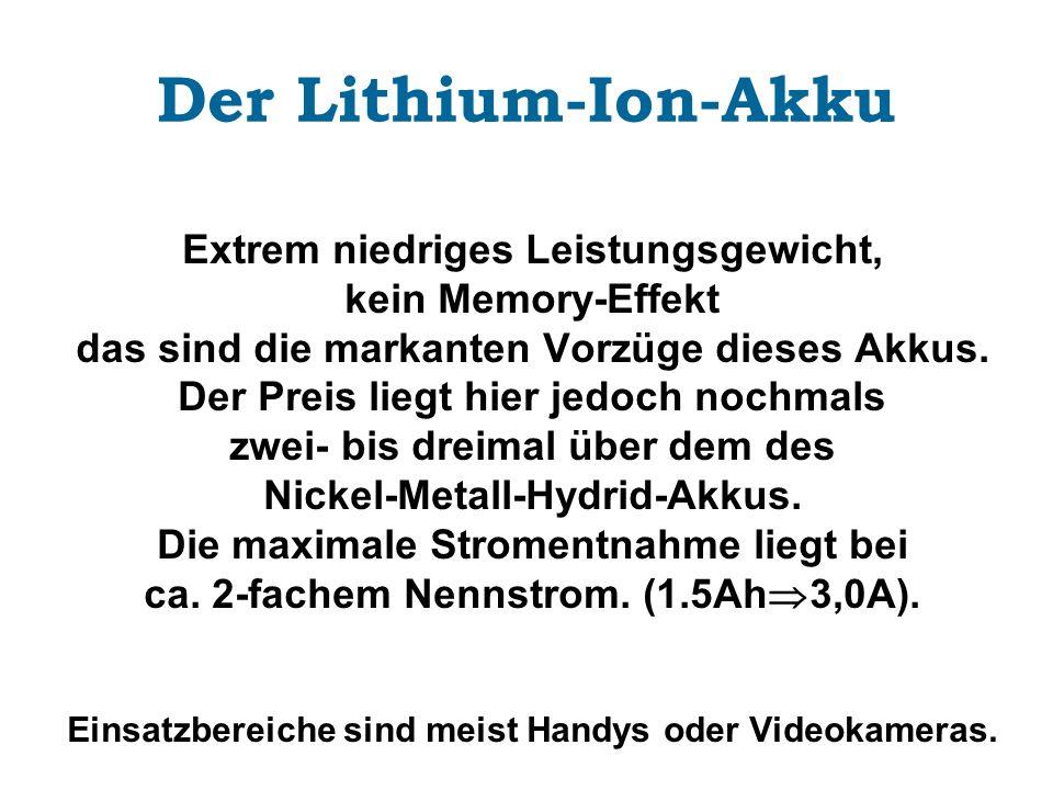 Der Lithium-Ion-Akku Extrem niedriges Leistungsgewicht, kein Memory-Effekt das sind die markanten Vorzüge dieses Akkus. Der Preis liegt hier jedoch no