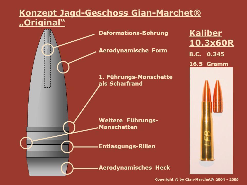 Copyright © by Gian-Marchet® 2004 - 2009 Kaliber 10.3x60R B.C. 0.345 16.5 Gramm Konzept Jagd-Geschoss Gian-Marchet® Original Aerodynamische Form Aerod