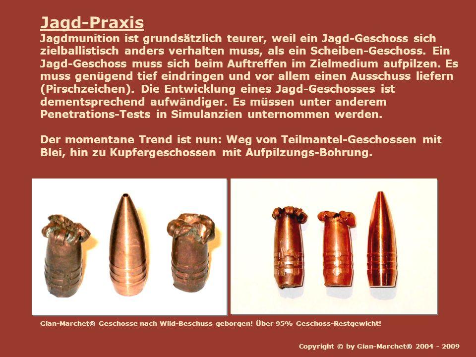 Copyright © by Gian-Marchet® 2004 - 2009 Jagd-Praxis Jagdmunition ist grundsätzlich teurer, weil ein Jagd-Geschoss sich zielballistisch anders verhalt