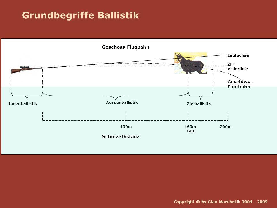 Copyright © by Gian-Marchet® 2004 - 2009 Grundbegriffe Ballistik Aussenballistik Innenballistik ZF- Visierlinie Laufachse Geschoss- Flugbahn Zielballi
