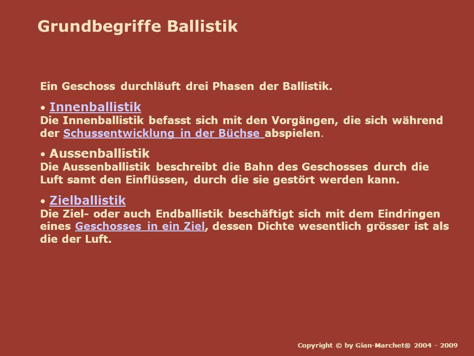 Copyright © by Gian-Marchet® 2004 - 2009 Grundbegriffe Ballistik Ein Geschoss durchläuft drei Phasen der Ballistik. Innenballistik Die Innenballistik