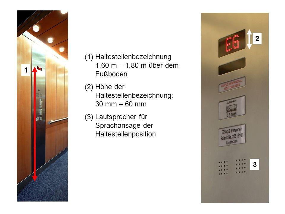 1 2 3 (1)Haltestellenbezeichnung 1,60 m – 1,80 m über dem Fußboden (2)Höhe der Haltestellenbezeichnung: 30 mm – 60 mm (3)Lautsprecher für Sprachansage