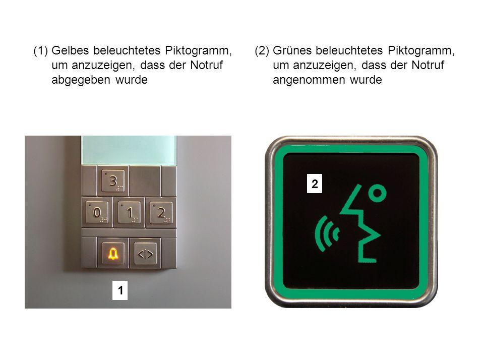 1 (1)Gelbes beleuchtetes Piktogramm, um anzuzeigen, dass der Notruf abgegeben wurde (2)Grünes beleuchtetes Piktogramm, um anzuzeigen, dass der Notruf