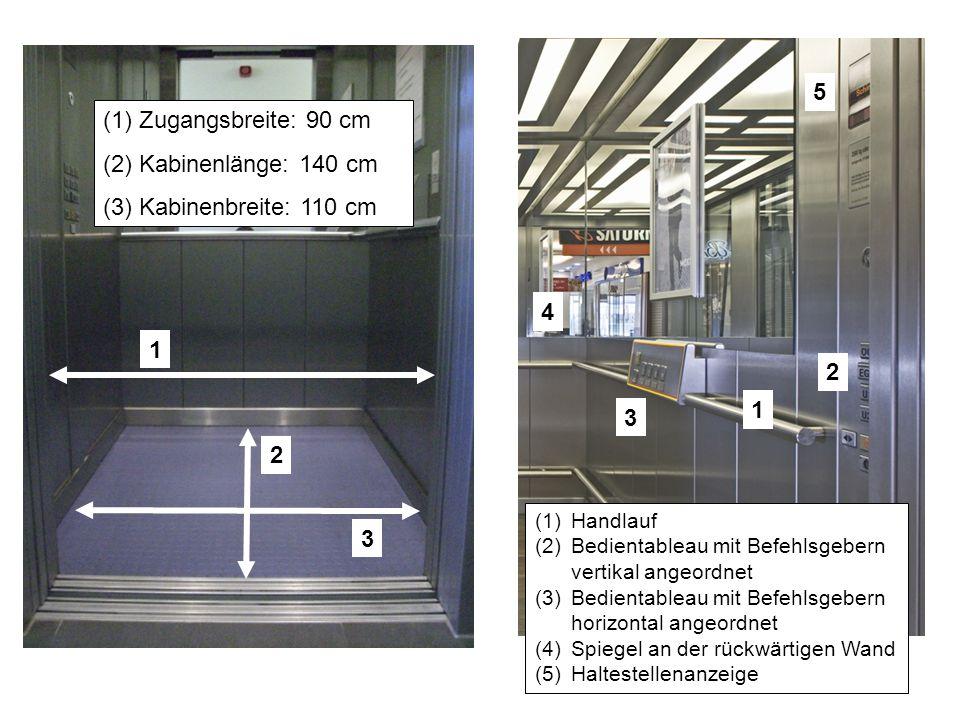 2 3 1 (1)Zugangsbreite: 90 cm (2)Kabinenlänge: 140 cm (3)Kabinenbreite: 110 cm (1)Handlauf (2)Bedientableau mit Befehlsgebern vertikal angeordnet (3)B