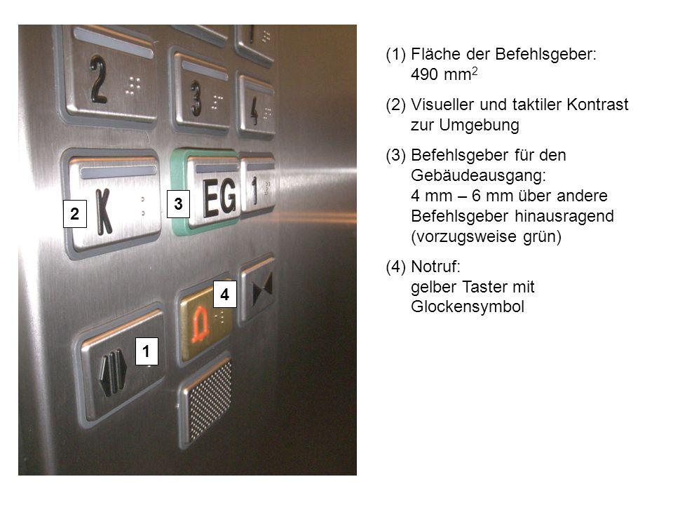 (1)Fläche der Befehlsgeber: 490 mm 2 (2)Visueller und taktiler Kontrast zur Umgebung (3)Befehlsgeber für den Gebäudeausgang: 4 mm – 6 mm über andere B