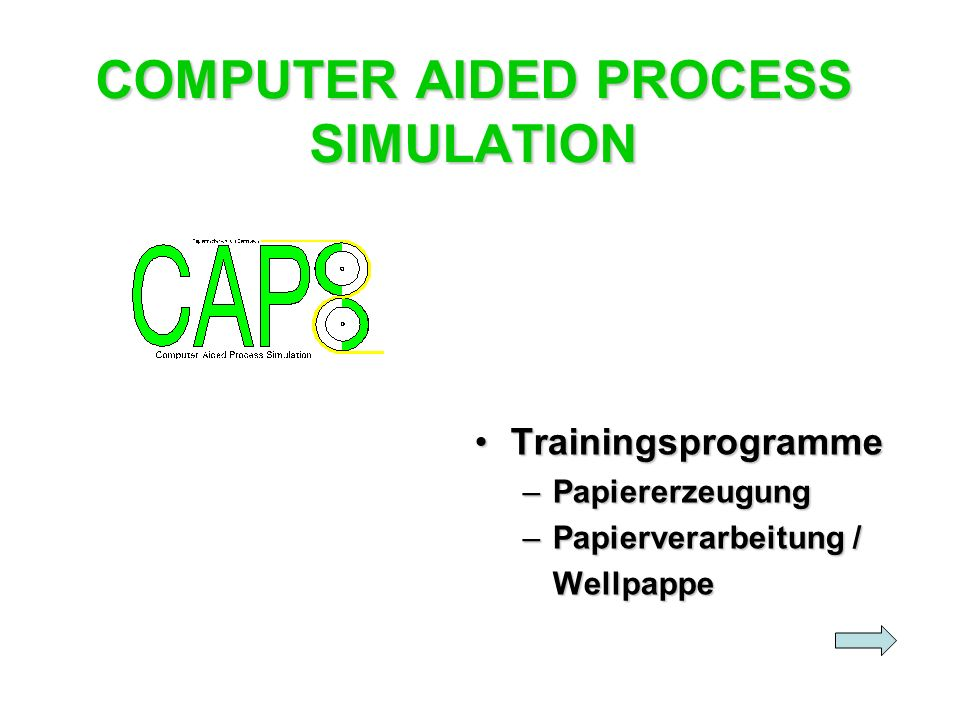 COMPUTER AIDED PROCESS SIMULATION TrainingsprogrammeTrainingsprogramme –Papiererzeugung –Papierverarbeitung / Wellpappe