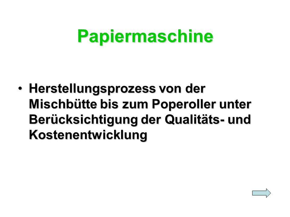 Papiermaschine Herstellungsprozess von der Mischbütte bis zum Poperoller unter Berücksichtigung der Qualitäts- und KostenentwicklungHerstellungsprozes