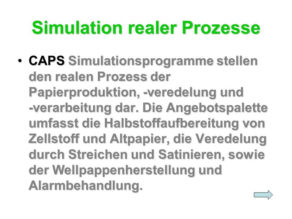 Simulation realer Prozesse CAPS Simulationsprogramme stellen den realen Prozess der Papierproduktion, -veredelung und -verarbeitung dar. Die Angebotsp
