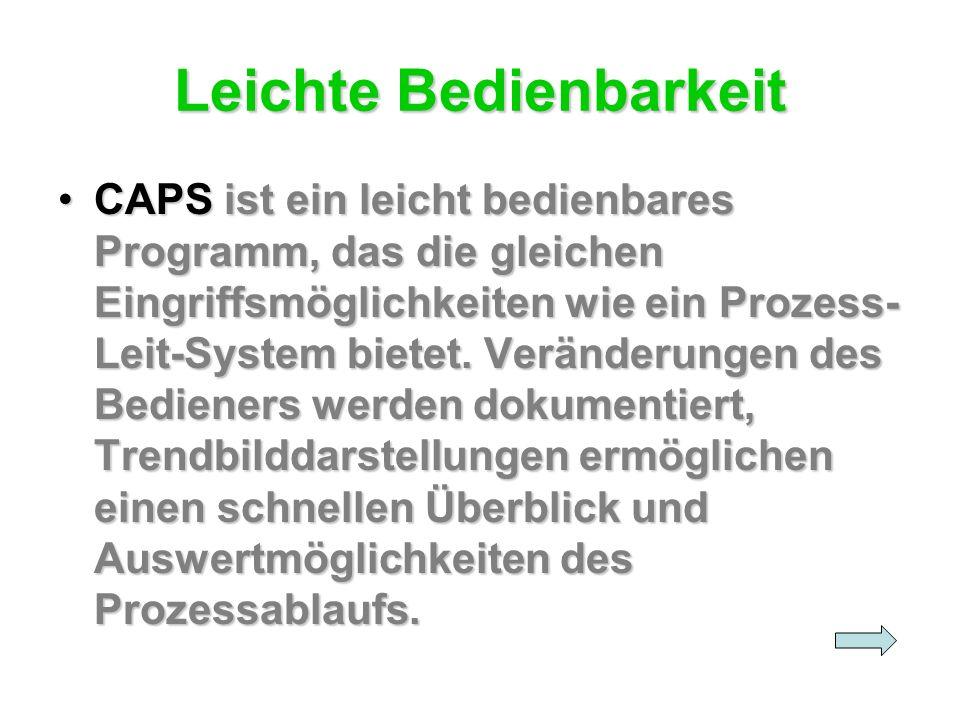 Leichte Bedienbarkeit CAPS ist ein leicht bedienbares Programm, das die gleichen Eingriffsmöglichkeiten wie ein Prozess- Leit-System bietet. Veränderu