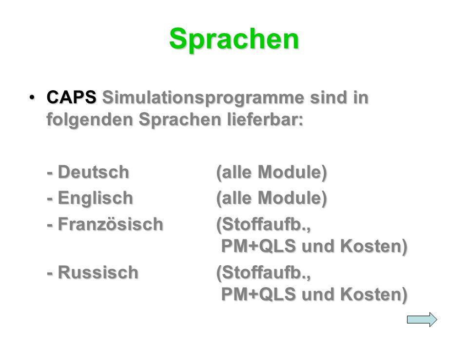 Sprachen CAPS Simulationsprogramme sind in folgenden Sprachen lieferbar:CAPS Simulationsprogramme sind in folgenden Sprachen lieferbar: - Deutsch(alle