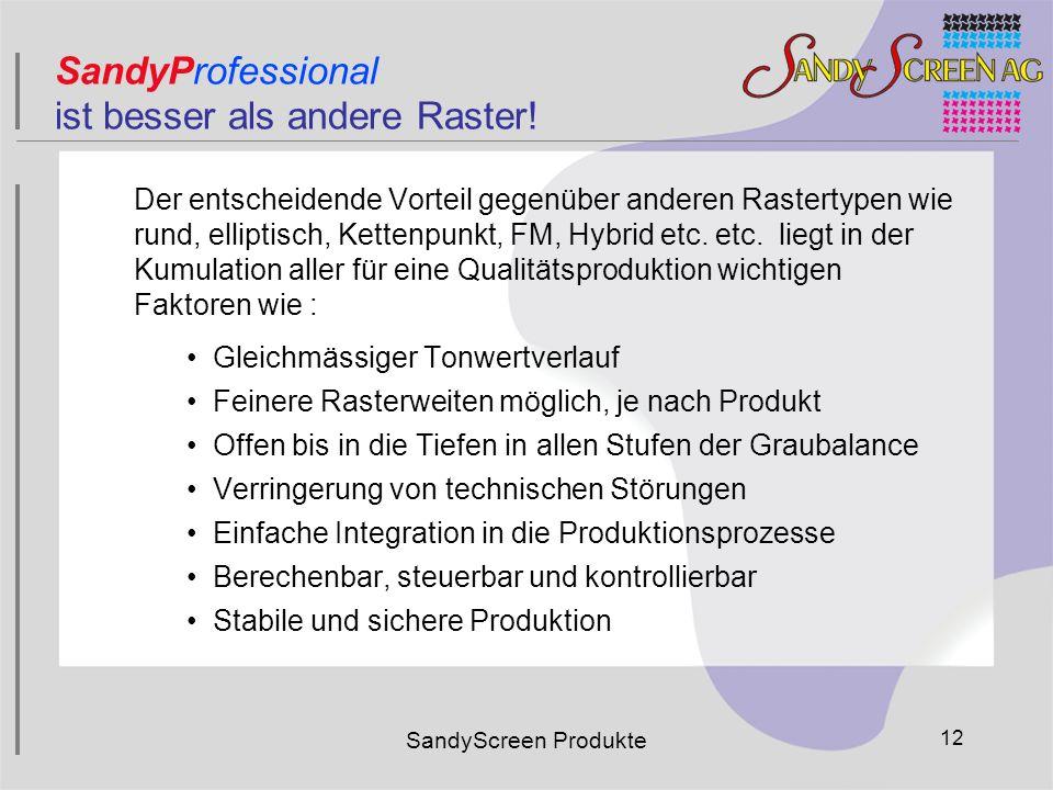 SandyScreen Produkte 12 Der entscheidende Vorteil gegenüber anderen Rastertypen wie rund, elliptisch, Kettenpunkt, FM, Hybrid etc. etc. liegt in der K