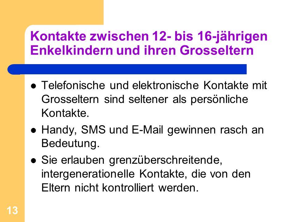 13 Kontakte zwischen 12- bis 16-jährigen Enkelkindern und ihren Grosseltern Telefonische und elektronische Kontakte mit Grosseltern sind seltener als