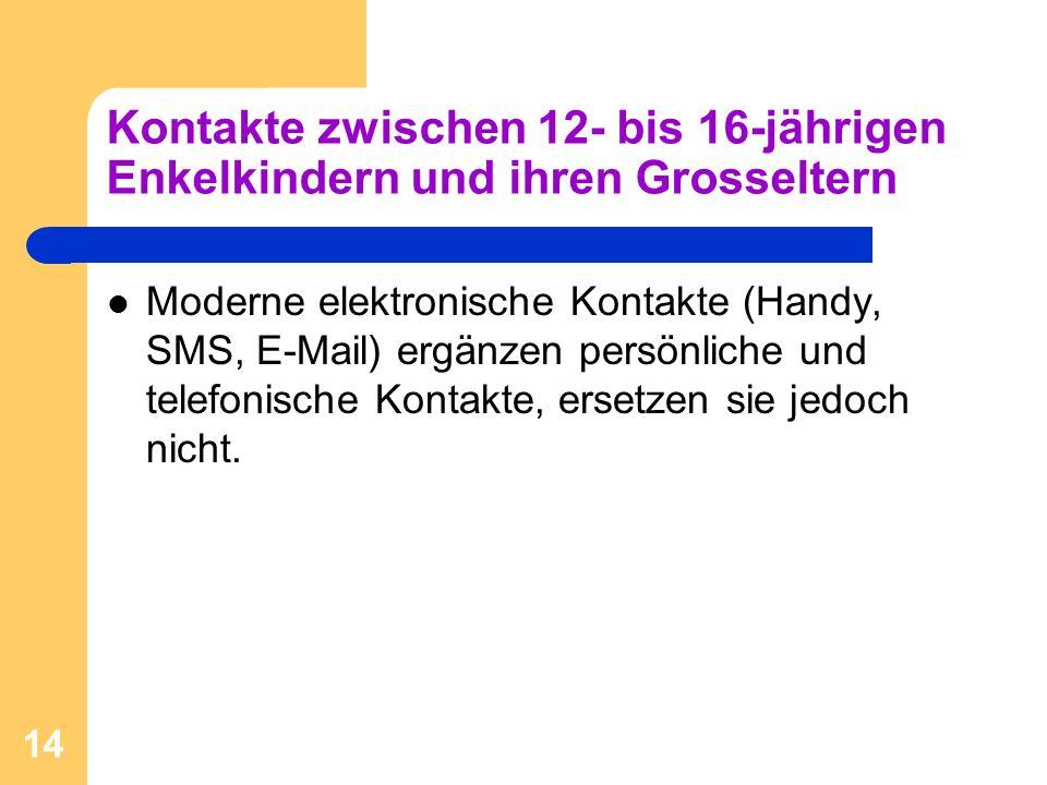 14 Kontakte zwischen 12- bis 16-jährigen Enkelkindern und ihren Grosseltern Moderne elektronische Kontakte (Handy, SMS, E-Mail) ergänzen persönliche u