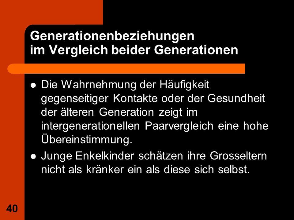 40 Generationenbeziehungen im Vergleich beider Generationen Die Wahrnehmung der Häufigkeit gegenseitiger Kontakte oder der Gesundheit der älteren Gene