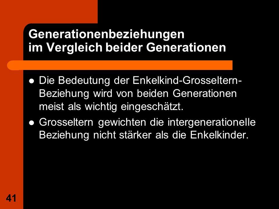 41 Generationenbeziehungen im Vergleich beider Generationen Die Bedeutung der Enkelkind-Grosseltern- Beziehung wird von beiden Generationen meist als
