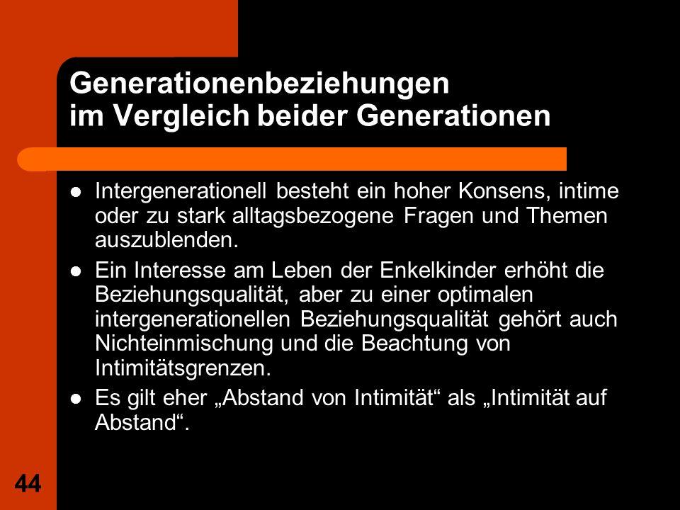 44 Generationenbeziehungen im Vergleich beider Generationen Intergenerationell besteht ein hoher Konsens, intime oder zu stark alltagsbezogene Fragen