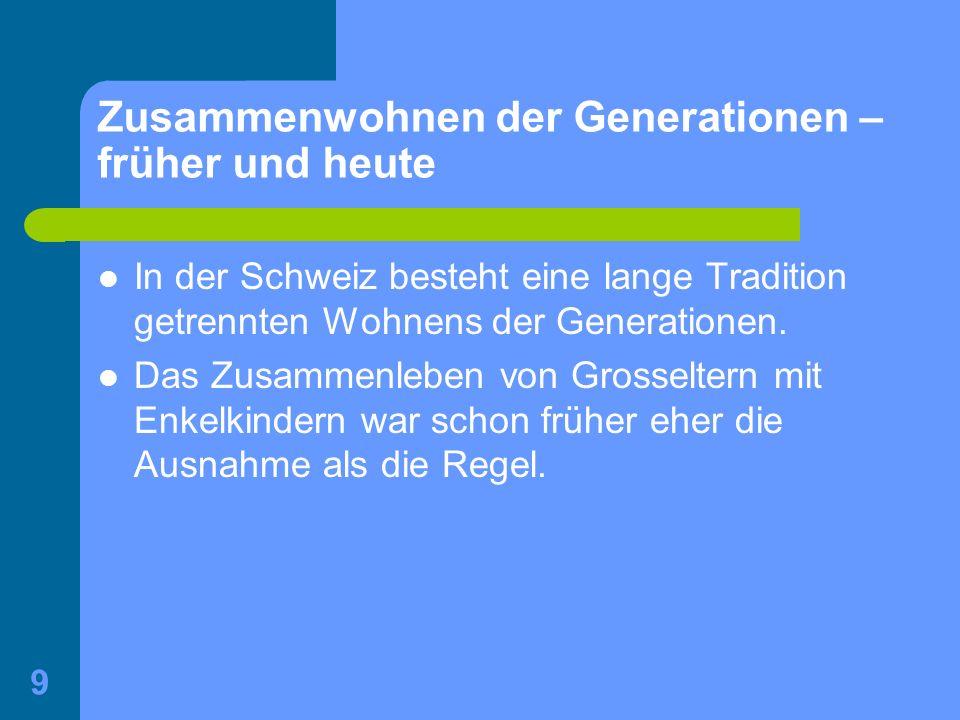 9 Zusammenwohnen der Generationen – früher und heute In der Schweiz besteht eine lange Tradition getrennten Wohnens der Generationen. Das Zusammenlebe