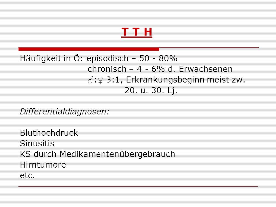 T T H - Therapie nicht- medikamentös: Ausdauertraining Biofeedback Kranio- Sakral- Therapie Akupunktur Muskelentspannung nach Jacobson