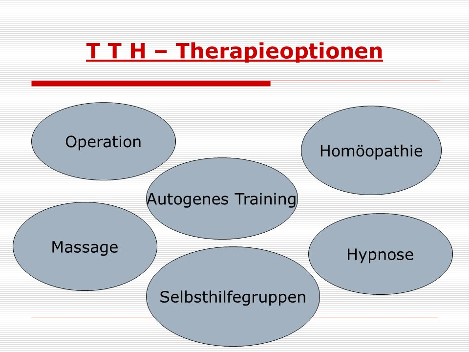 T T H – Therapieoptionen Operation Homöopathie Massage Autogenes Training Hypnose Selbsthilfegruppen