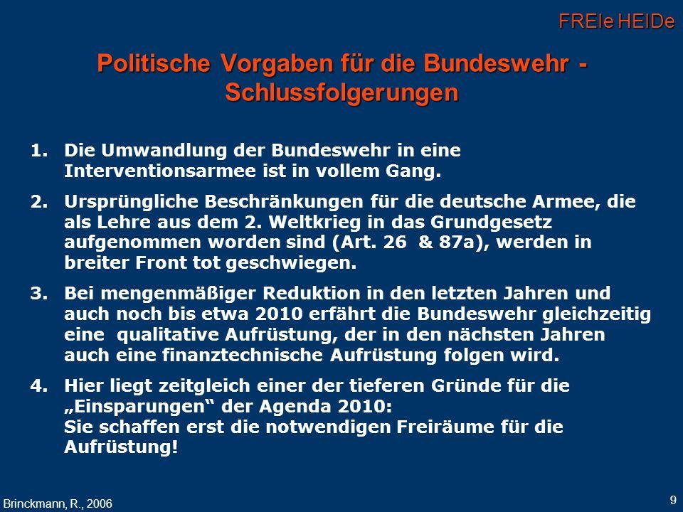 FREIe HEIDe Brinckmann, R., 2006 9 Politische Vorgaben für die Bundeswehr - Schlussfolgerungen 1. 1.Die Umwandlung der Bundeswehr in eine Intervention