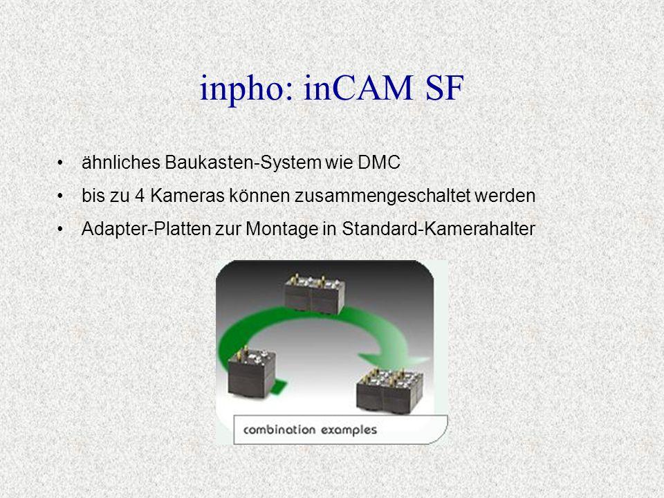 ähnliches Baukasten-System wie DMC bis zu 4 Kameras können zusammengeschaltet werden Adapter-Platten zur Montage in Standard-Kamerahalter