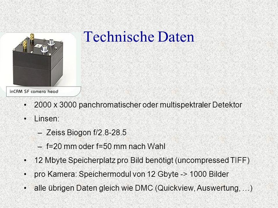 Technische Daten 2000 x 3000 panchromatischer oder multispektraler Detektor Linsen: –Zeiss Biogon f/2.8-28.5 –f=20 mm oder f=50 mm nach Wahl 12 Mbyte