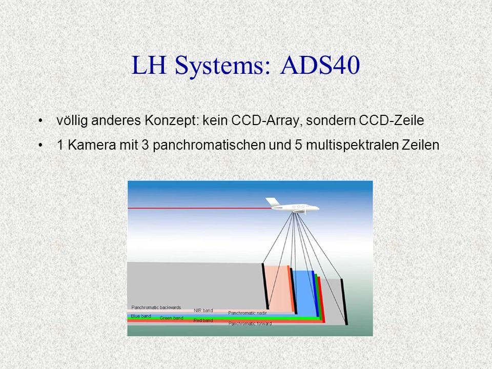 völlig anderes Konzept: kein CCD-Array, sondern CCD-Zeile 1 Kamera mit 3 panchromatischen und 5 multispektralen Zeilen