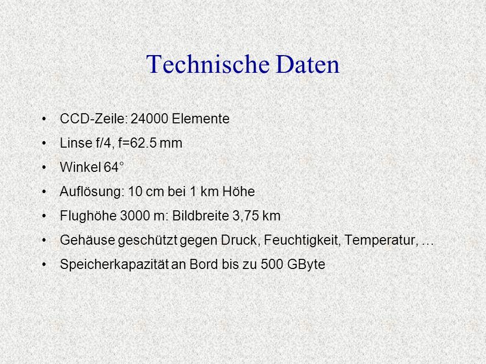 Technische Daten CCD-Zeile: 24000 Elemente Linse f/4, f=62.5 mm Winkel 64° Auflösung: 10 cm bei 1 km Höhe Flughöhe 3000 m: Bildbreite 3,75 km Gehäuse