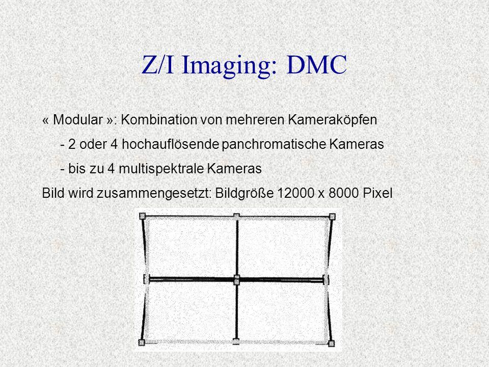 « Modular »: Kombination von mehreren Kameraköpfen - 2 oder 4 hochauflösende panchromatische Kameras - bis zu 4 multispektrale Kameras Bild wird zusam