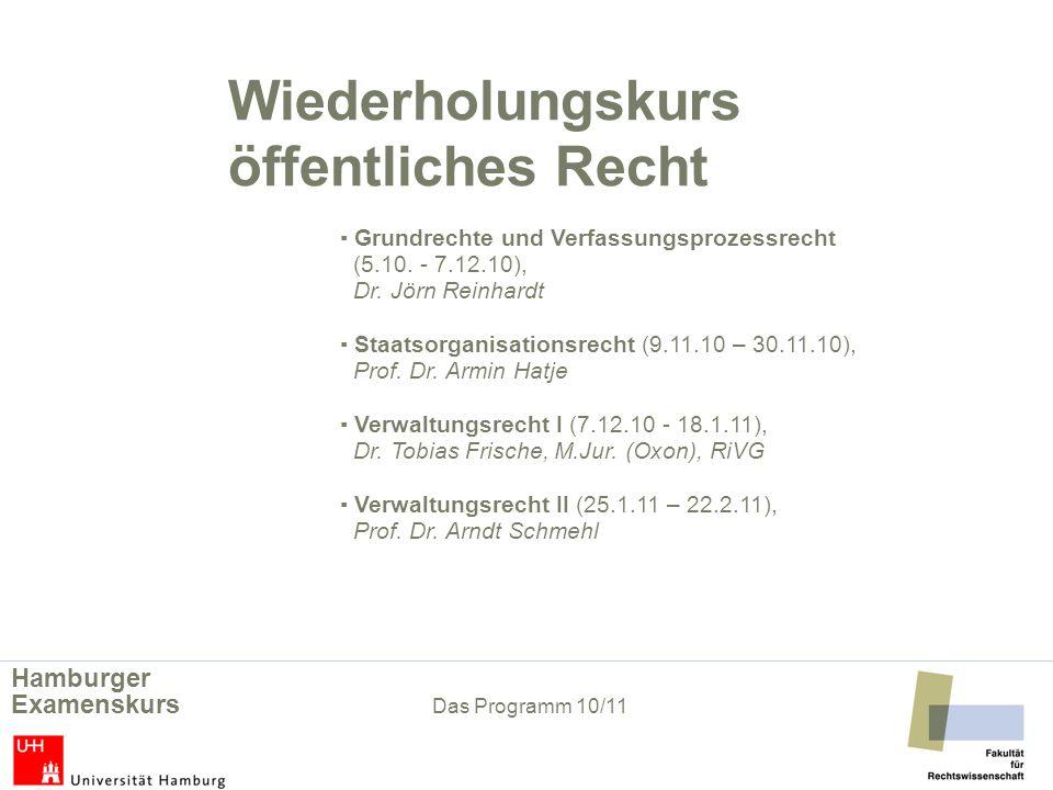 Wiederholungskurs öffentliches Recht Grundrechte und Verfassungsprozessrecht (5.10. - 7.12.10), Dr. Jörn Reinhardt Staatsorganisationsrecht (9.11.10 –