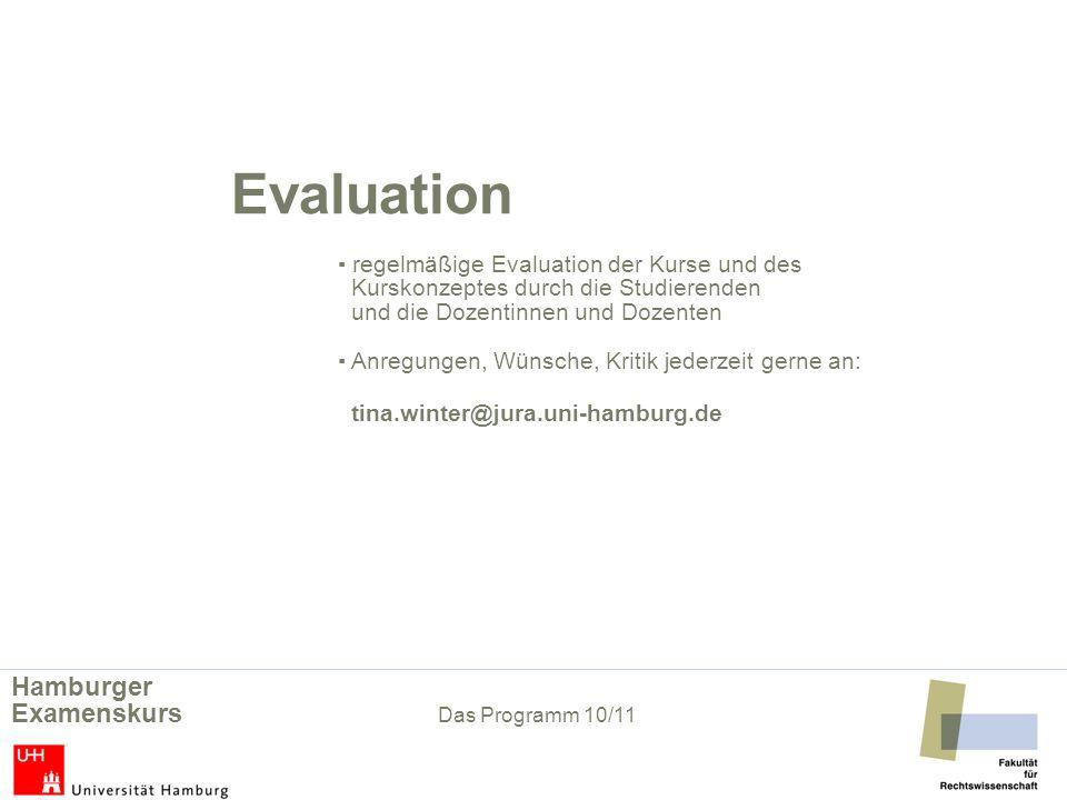Evaluation regelmäßige Evaluation der Kurse und des Kurskonzeptes durch die Studierenden und die Dozentinnen und Dozenten Anregungen, Wünsche, Kritik
