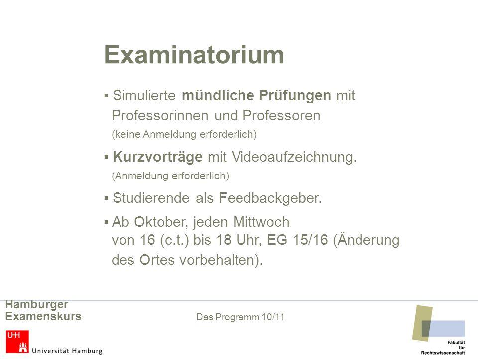 Examinatorium Simulierte mündliche Prüfungen mit Professorinnen und Professoren (keine Anmeldung erforderlich) Kurzvorträge mit Videoaufzeichnung. (An