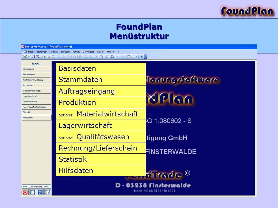 FoundPlan Basisdaten Stammdaten Auftragseingang Produktion optional Materialwirtschaft Lagerwirtschaft optional Qualitätswesen Rechnung/Lieferschein S