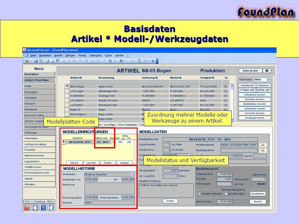Basisdaten Zuordnung mehrer Modelle oder Werkzeuge zu einem Artikel. Modellstatus und Verfügbarkeit Modellplatten-Code Artikel * Modell-/Werkzeugdaten