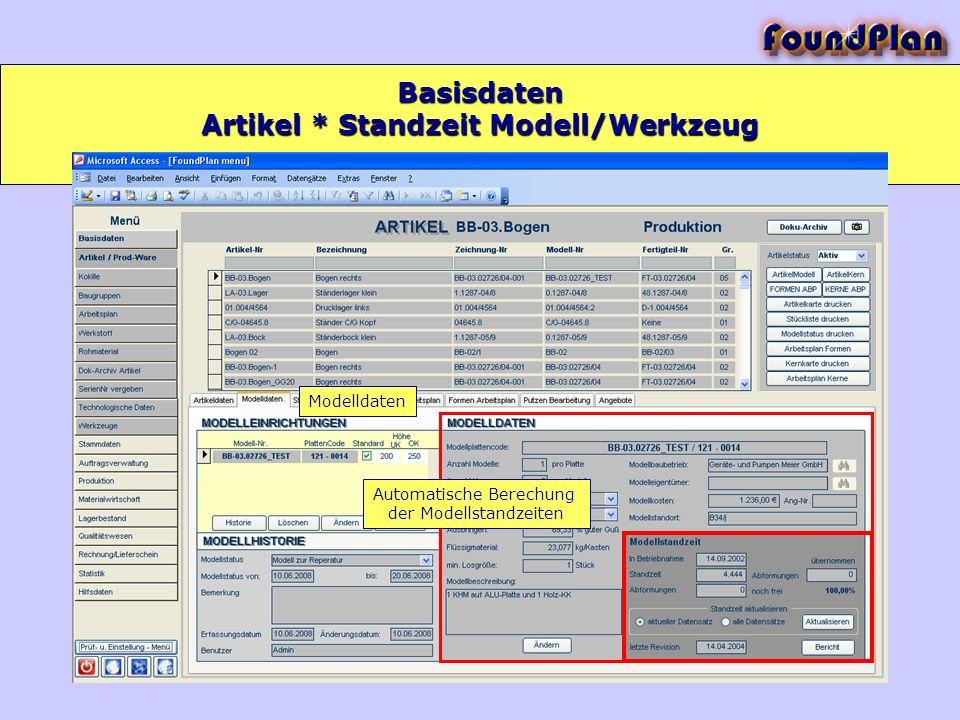 Basisdaten Modelldaten Automatische Berechung der Modellstandzeiten Artikel * Standzeit Modell/Werkzeug