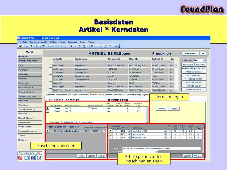 Basisdaten Kerne anlegen Maschinen zuordnen Arbeitspläne zu den Maschinen anlegen Artikel * Kerndaten