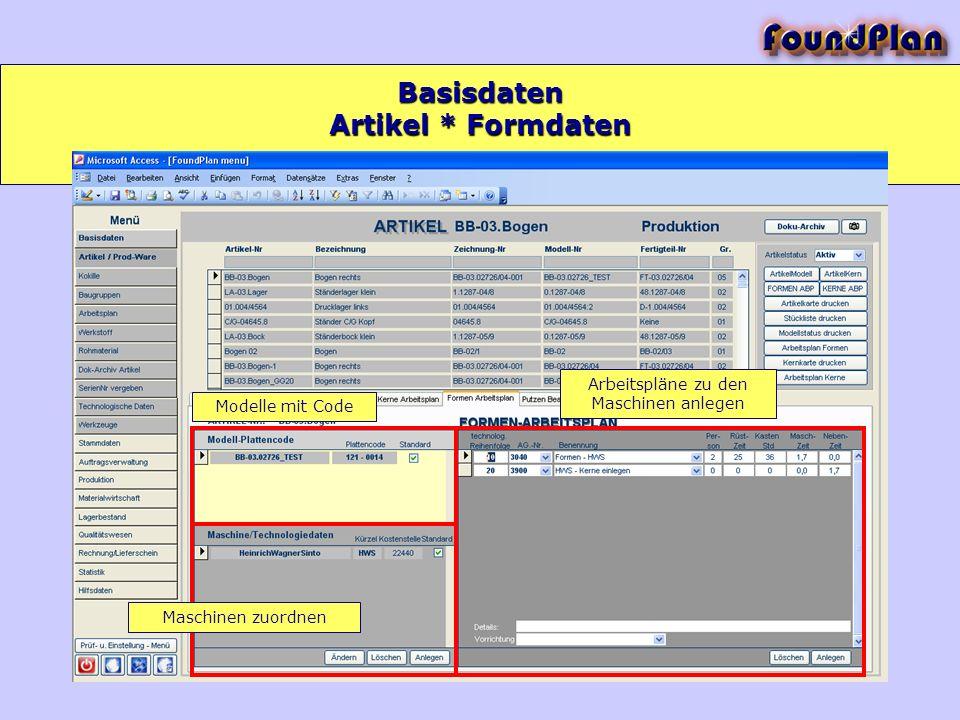 Basisdaten Modelle mit Code Maschinen zuordnen Arbeitspläne zu den Maschinen anlegen Artikel * Formdaten