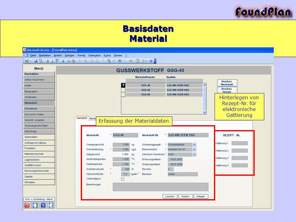Basisdaten Erfassung der Materialdaten Hinterlegen von Rezept-Nr. für elektronische Gattierung Material
