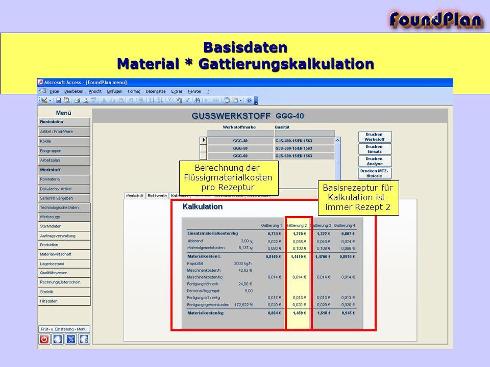 Basisdaten Berechnung der Flüssigmaterialkosten pro Rezeptur Basisrezeptur für Kalkulation ist immer Rezept 2 Material * Gattierungskalkulation