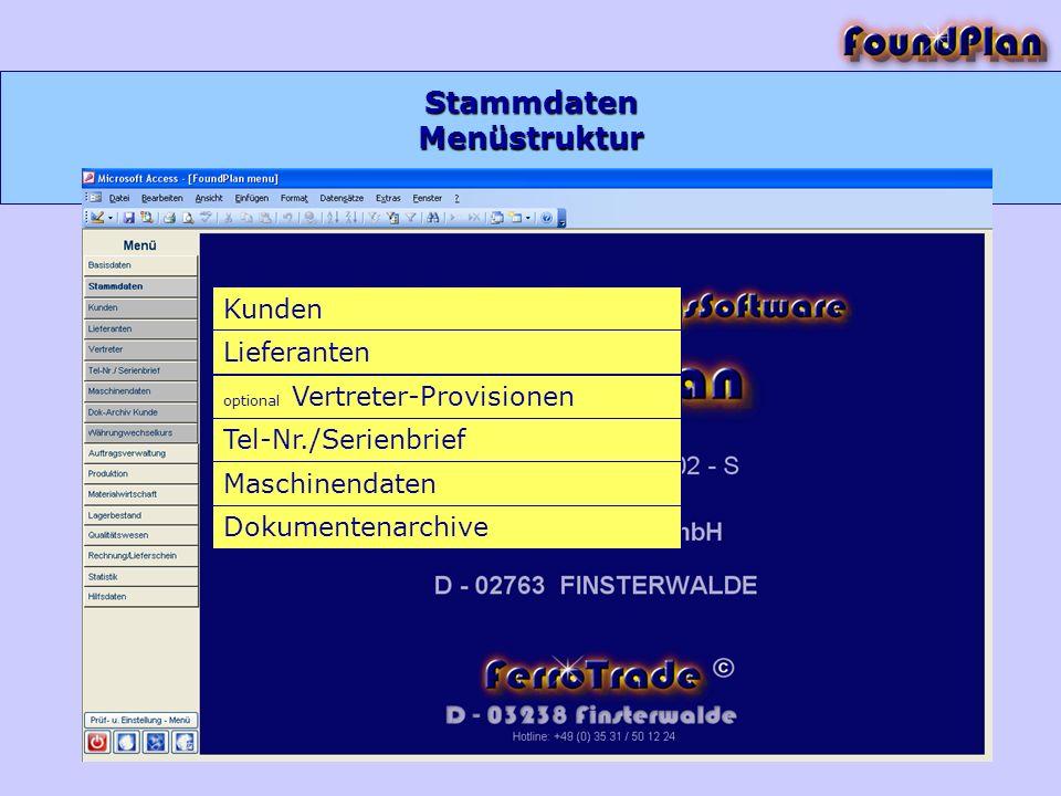 Stammdaten Kunden Lieferanten Tel-Nr./Serienbrief Maschinendaten Dokumentenarchive optional Vertreter-Provisionen Menüstruktur