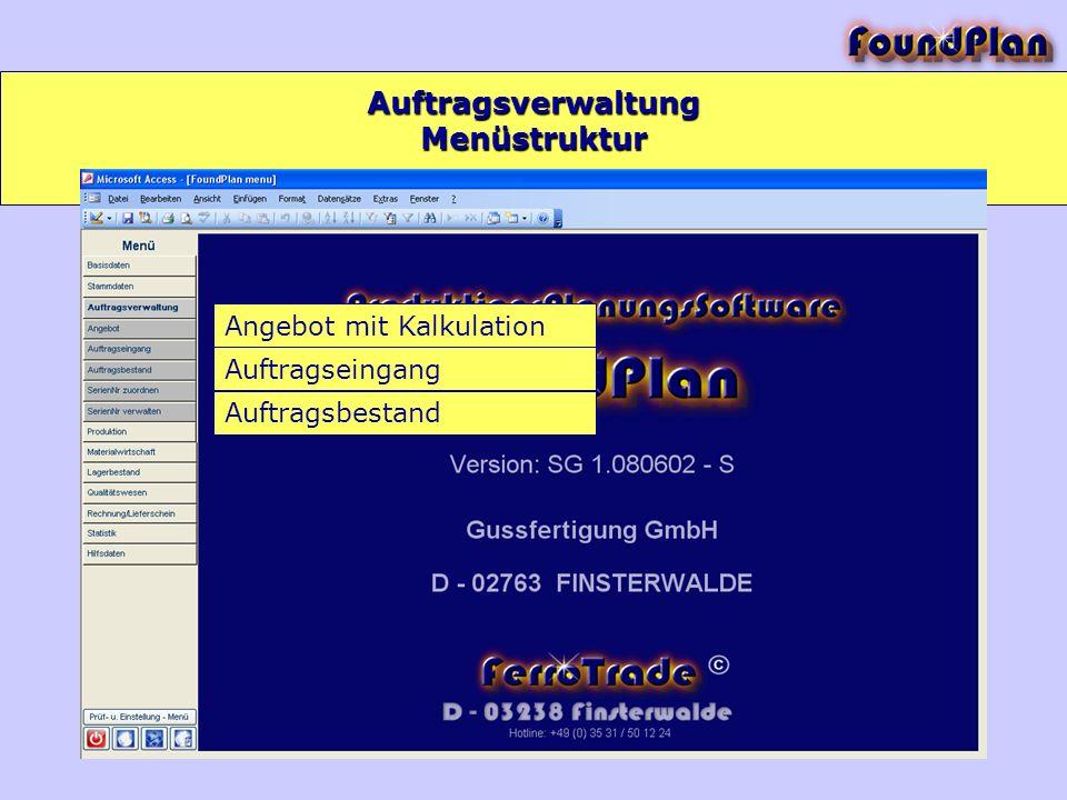 Auftragsverwaltung Angebot mit Kalkulation Auftragseingang Auftragsbestand Menüstruktur