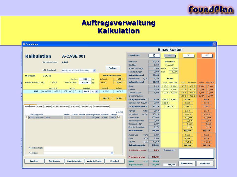 Kalkulation Auftragsverwaltung