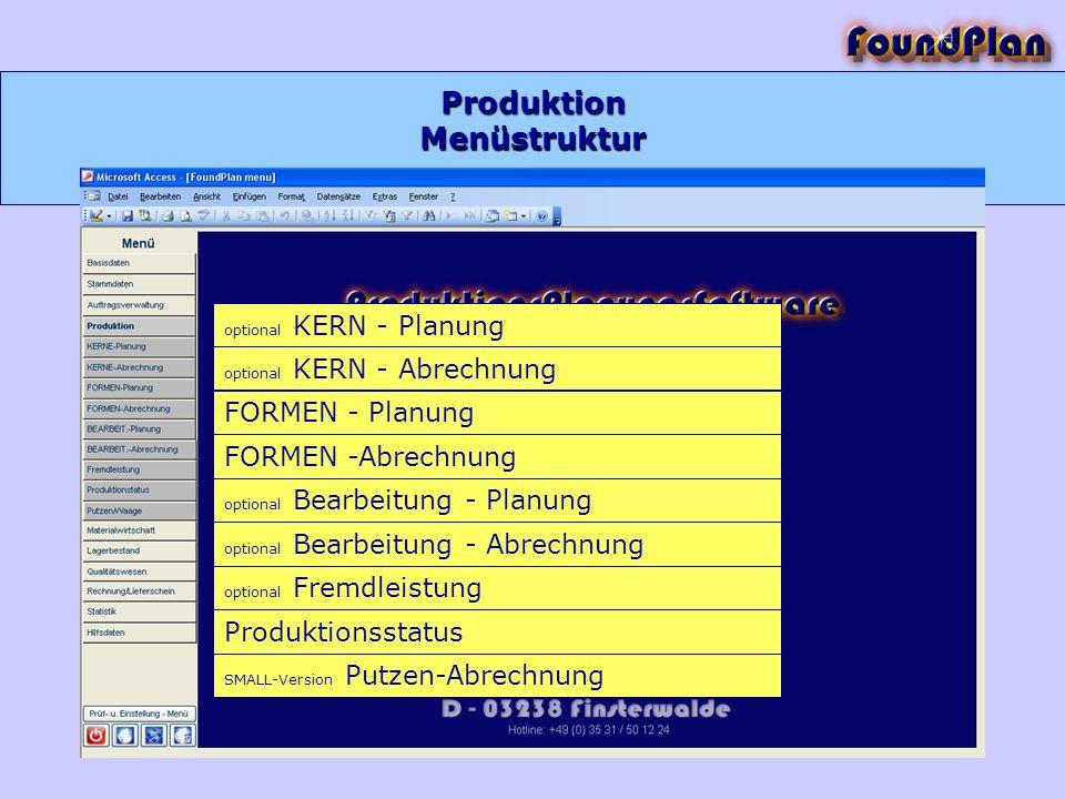 Produktion optional KERN - Planung optional KERN - Abrechnung FORMEN - Planung FORMEN -Abrechnung optional Bearbeitung - Planung optional Bearbeitung