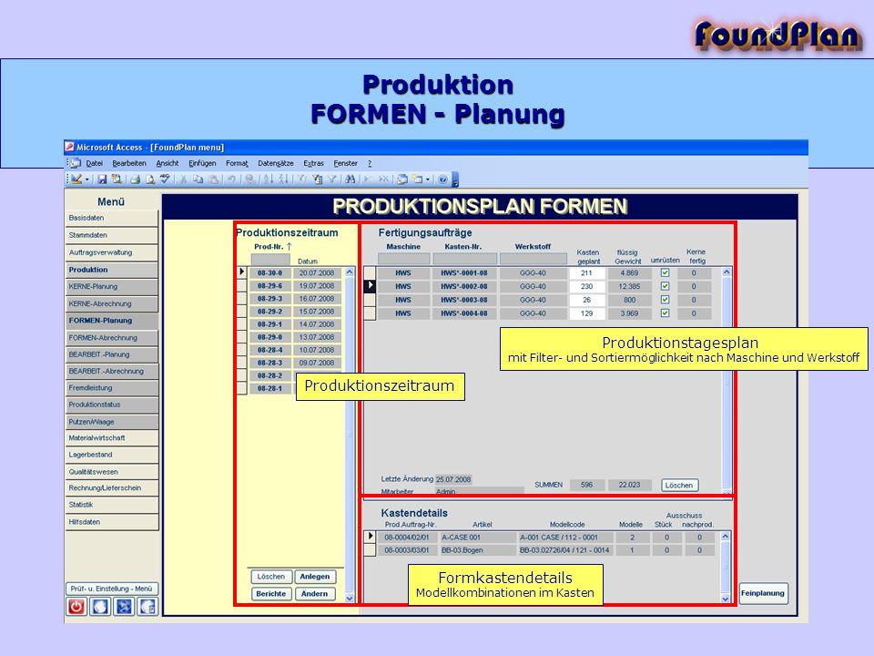 Produktion Produktionstagesplan mit Filter- und Sortiermöglichkeit nach Maschine und Werkstoff Produktionszeitraum Formkastendetails Modellkombination