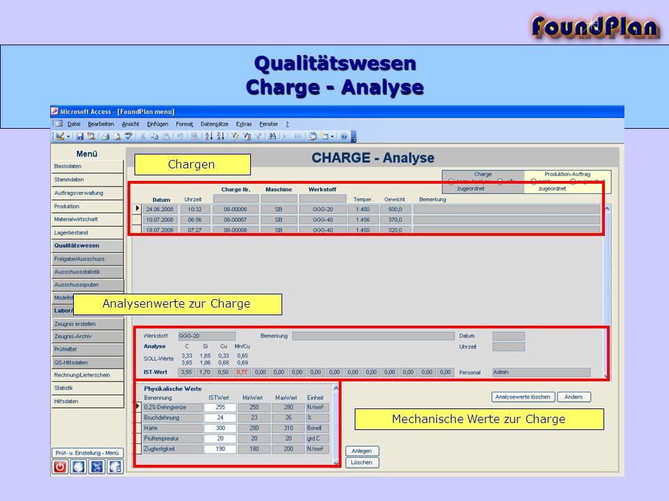 Charge - Analyse Qualitätswesen Chargen Analysenwerte zur Charge Mechanische Werte zur Charge