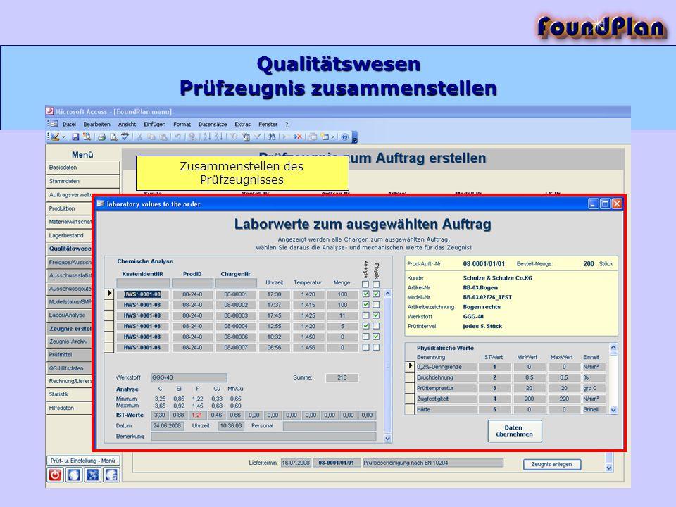 Prüfzeugnis zusammenstellen Qualitätswesen Zusammenstellen des Prüfzeugnisses