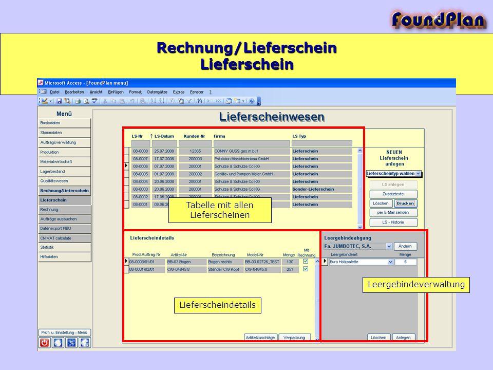 Rechnung/Lieferschein Tabelle mit allen Lieferscheinen Lieferscheindetails Leergebindeverwaltung Lieferschein
