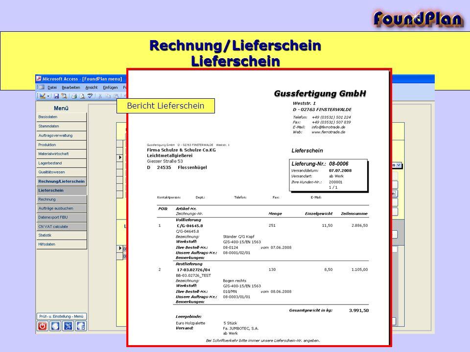 Rechnung/Lieferschein Lieferschein Bericht Lieferschein